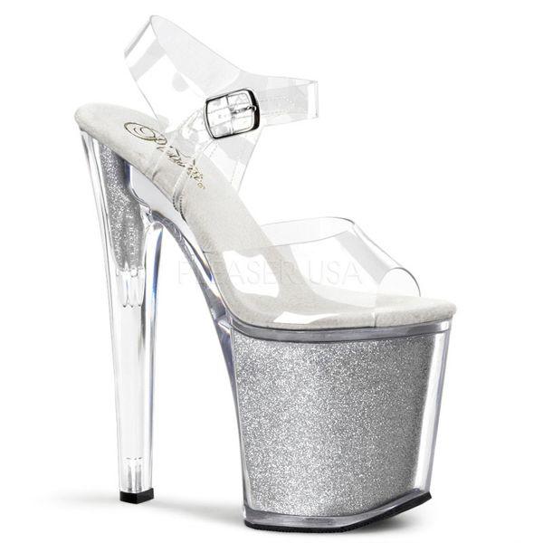 Durchsichtige High Heel Riemchen Sandalette mit silber Glitter Plateau XTREME-808G